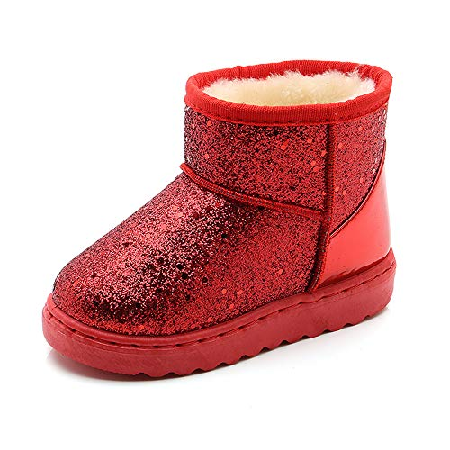 SOFMUO Boys Girls Plush Hiking Snow Boots Sparkly Waterproof Booties Warm Winter Shoes (Toddler/Little Kid)(Red,30)