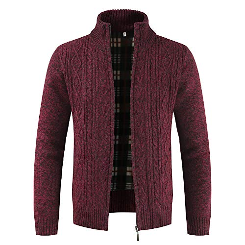 Col Lianmengmvp Rouge Hiver Hommes Éclair Manteaux Pull Outwear Fermeture Tops Des Montant Solide Cardigan zFrUqgz