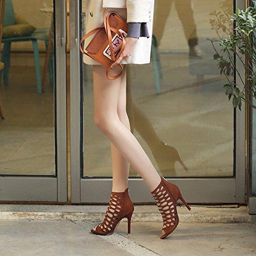 Chaussures Sandales Peep Toe Talons Robe De Haute Mariage Daim Soirée Femmes Brown à De Creux qXOwfRx