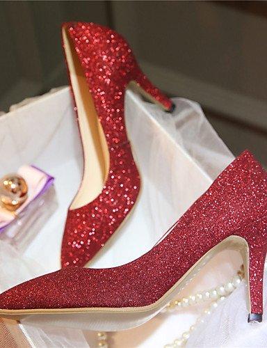 GGX/Damen Schuhe Glitter Stiletto Heel Basic Pumpe Spitz Zulaufender Zehenbereich Heels Hochzeit Schuhe Party & Abend Kleid Schwarz Rot 2in-2 3/4in-black