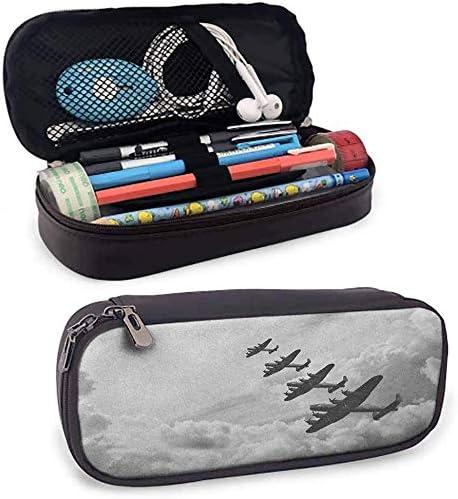 Bolsa de piel sintética con cremallera, diseño retro de Lancaster Bomber Jets de Battle Royal Air in Clouds Plane para la escuela, oficina o papelería: Amazon.es: Hogar
