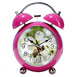 GIRLSIGHT 4 Twin Bell Alarm Clock with Fun Animal Dial, Backlight, Battery Operated Loud Alarm Clock 407.of Black Bee on White Flower(red)