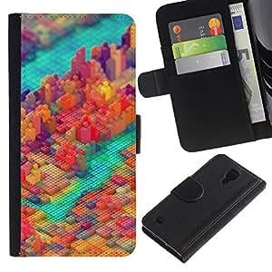 YiPhone /// Tirón de la caja Cartera de cuero con ranuras para tarjetas - PIXEL COLORIDO DEL BLOQUE DE LA CIUDAD - Samsung Galaxy S4 IV I9500
