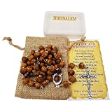 Carved Beads Catholic Rosary Necklace Jerusalem Soil Centerpiece Linen Rosary Pouch Certificate Gift Box