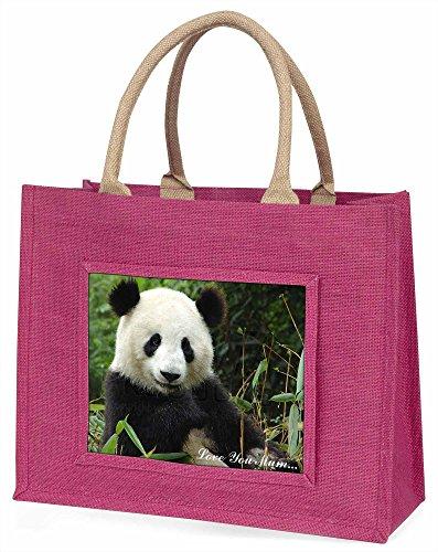 Advanta Panda Bär, Love You Mum Große Einkaufstasche Weihnachten Geschenk Idee, Jute, Rosa, 42x 34,5x 2cm