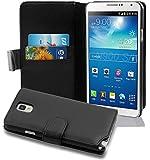 Cadorabo - Etui Housse pour Samsung Galaxy NOTE 3(N9005) - Coque Case Cover Bumper Portefeuille (avec fentes pour cartes) en NOIR DE JAIS