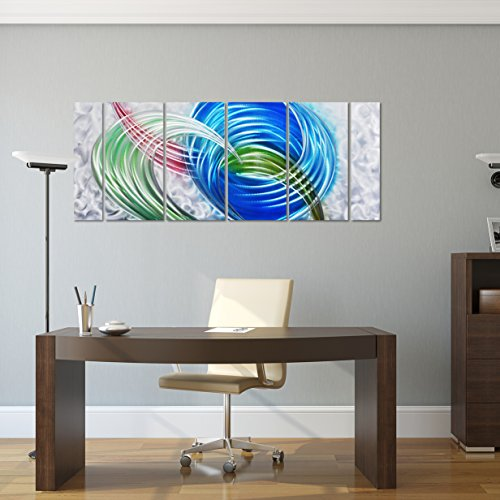 "Pure Art Primary Swirls - Colorful Abstract Rainbow Metal Wall Art Decor - Modern Large Hanging Sculpture - Set of 6 Silver, Green, Blue and Red Aluminum Panels for your Home, Office - 65"" x 24\"""