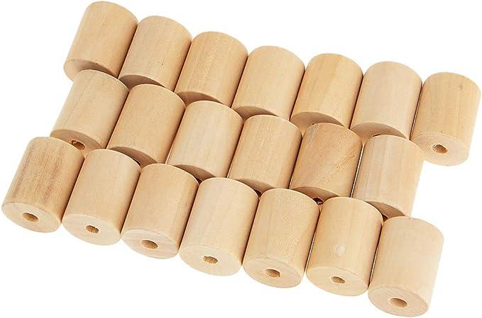 20x25mm IPOTCH 20 Piezas Abalorios Madera Cilindro Tubo Hecha Perfecto Regalo para Chicas Fabricaci/ón de Abalorios y Bisuter/ía