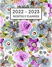 2022-2023 Monthly Planner: Lavender Floral 2 Year Monthly Planner Calendar Schedule Organizer   January 2022 to December 2023 - 24 Months with Holidays