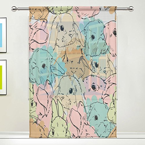 WOZO Watercolor Rabbit Bunny Window Sheer Curtain Panels 55