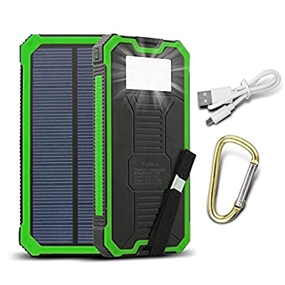 ToHLo Solar Charger Power Bank 15000mAh, Solar External Battery Pack, Dual USB Portable External Solar Power Bank Charger for Iphone 7 6 Plus 5 Galaxy S7 6 5 HTC and most Smart phones Tablets by HzDz
