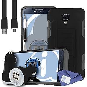 iTALKonline Samsung Galaxy S4 i9502 negro dura choque cobertura ensayo resistente duradero de los casos con el bastidor LCD de visualización de 2000 mAh doble de cargador de coche y cable Micro USB plano de carga de datos