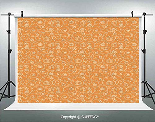 Background Pattern with Pumpkin Leaves and Swirls on Orange Backdrop Halloween Inspired 3D Backdrops for Interior Decoration Photo Studio Props]()