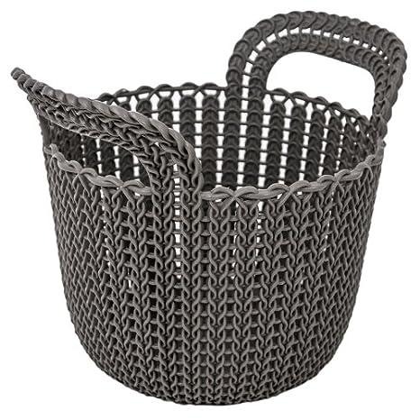 Kunststoff Kunststoff braun CURVER Runder Aufbewahrungskorb Strick 9,9 x 9,9 x 11,2 cm
