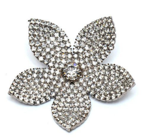 (Bridal Swarovski Crystal Flower Brooch (Silver-Tone) / Brooch Pin by Krystal/Rhodium Plated Swarovski Crystal Fancy Brooch/Silver Flower Brooches/Pins Collection for Dresses & Handbags)