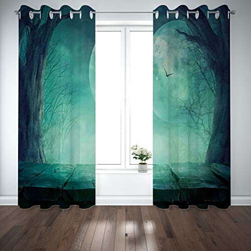 (SCOCICI Grommet Blackout Window Curtains Drapes [ Halloween Decorations,Spooky Forest Moon Vain Branches Mystical Haunted Horror Rustic Decor,Teal] Living Room Bedroom Kitchen)