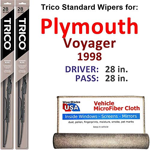 Wiper Blades for 1998 Plymouth Voyager Driver & Passenger Trico Steel Wipers Set of 2 Bundled with Bonus MicroFiber Interior Car Cloth ()