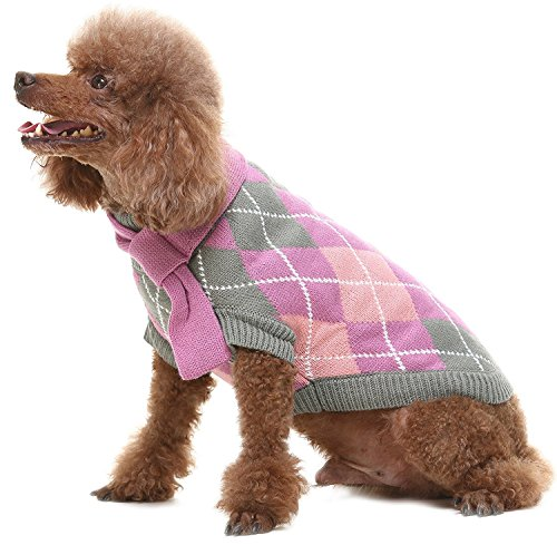 XS Dog Argyle Sweater with Scarf Cute Winter Puppy Clothes Purple by BINGPET