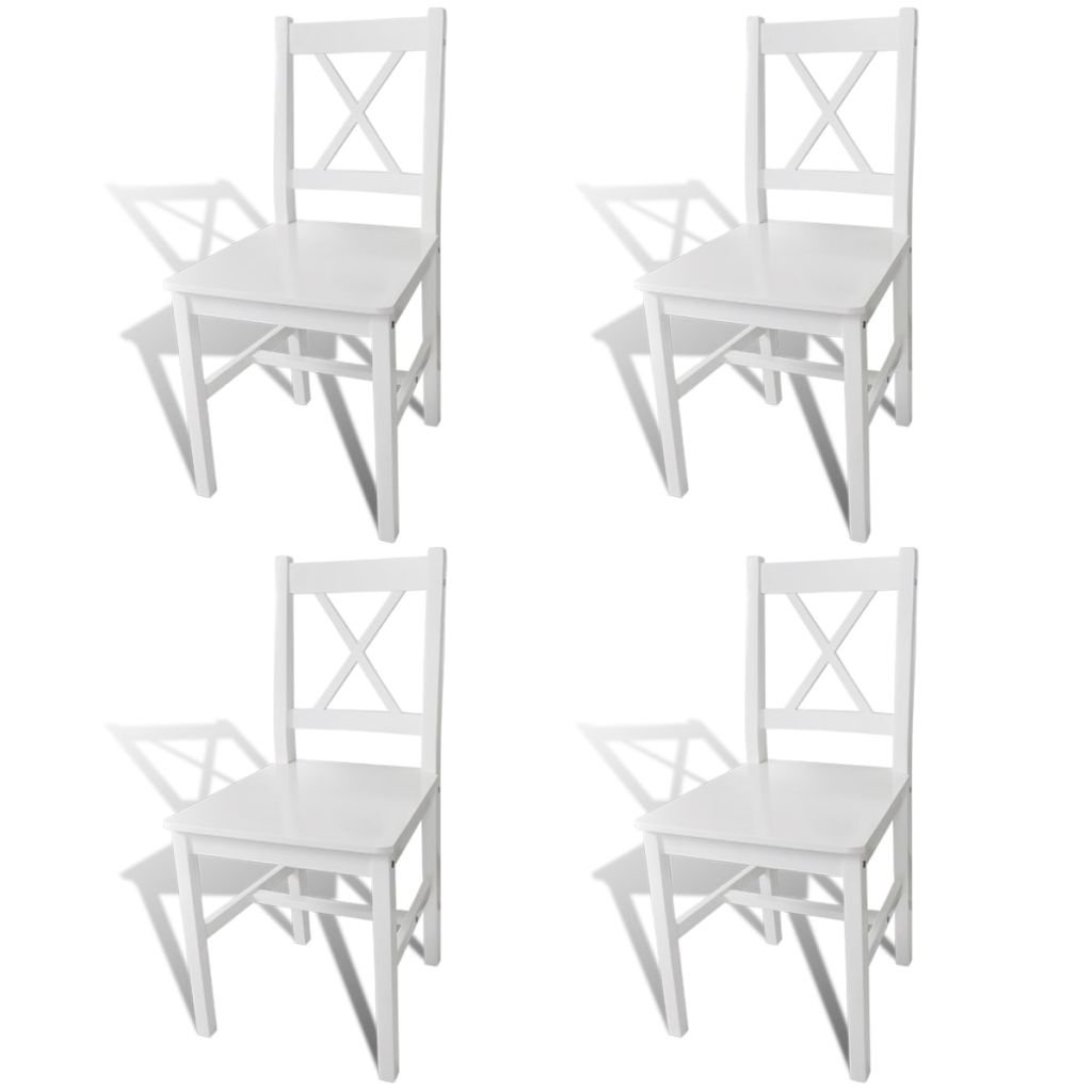 VidaXL Massivholz 4x Esszimmerstuhl Weiß Küchenstuhl Holzstuhl Stuhlgruppe