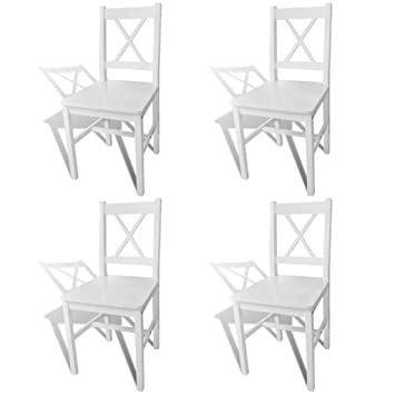 Amazon.com - Luxury Dining Chair Set of 4 Dining Set White Wooden ...