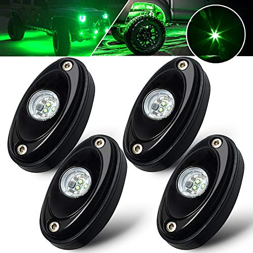(4 Pods LED Rock Lights Green Waterproof LED light kit underglow LED ground lighting for Truck off road Raptor Baja Car UTV SUV ATV Boat trailers tow vehicles lamp)