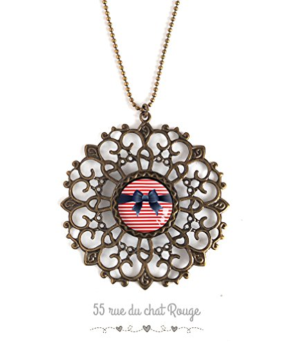 Large pendant necklace with cabochon, bow tie, red stripes, marinière, 50's ()