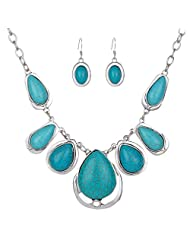 YAZILIND Women Attractive Tear Drop Turquoise Inlay Bib Statement Necklace And Earring Jewelry Set