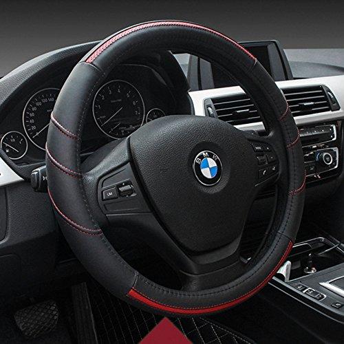 Genuine Leather HONCENMAX Vehicle Steering Wheel Cover Quality Comfy Car Steering Wheel Protector Universal Diameter 38cm 15