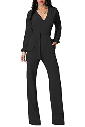 db0c5c14950a Women Solid Long Sleeve V Neck Belted Tunic Jumpsuit Loose Wide Leg  Trousers Black L