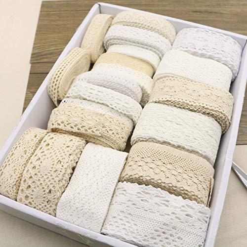 - 10y White Beige Cotton Crocheted Lace Fabric Wedding Scrapbook Decration Bridal Ribbon Craft Apparel Sewing Fabric Trims3-5cm
