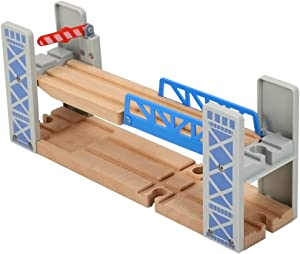 Z MAYABBO Wooden Train Set Accessories Wood Railway Bridge for Railroad Tracks, 2-Level Overpass Compatible for All Railway Tracks System