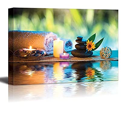 Canvas Prints Wall Art - Three Candles and Towels with Black Zen Stones and Orange Daisy on Water Spa/Wellness/Beauty Concept | Modern Wall Decor- 12