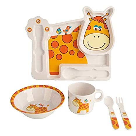 5Pcs//Set Cartoon Cow Baby Tableware Set Children Dinner Plate Cup Feeding