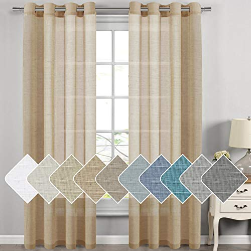 H.VERSAILTEX Decorative Home Fashion Linen Sheer Curtains Extra Long Curtains for Living Room, 1 Pair Natural Open Weave Linen Curtains Sheer Grommet Top (Set of 2, 52 by 108 Inch, Tan) (Panels Length Window 108)