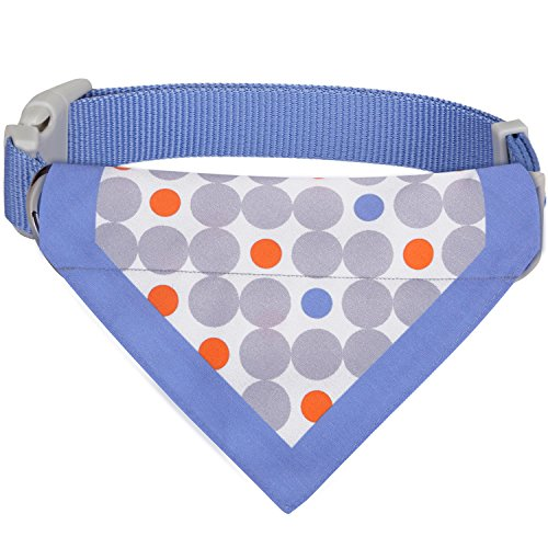 Blueberry Pet 7 Patterns Unisex Polka Dots Chilling Summer Blue Cotton Blend Neckerchief Scarf Bandana Dog Collar, Medium, Neck 14.5