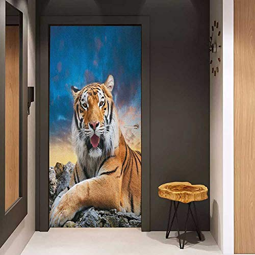 - Onefzc Soliciting Sticker for Door Tiger Calm Siberian Large Cat with Beautiful Sunset Resting on a Boulder Relaxed Beast Mural Wallpaper W17.1 x H78.7 Multicolor