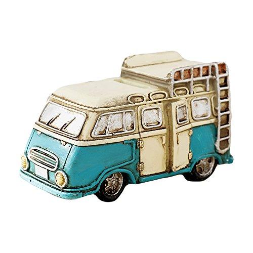 WAIT FLY Vintage White Blue Camper Car Shape Resin Home Desk Decorations for Bedroom Living Room Piggy Bank Gifts for - Bank Vintage Coin