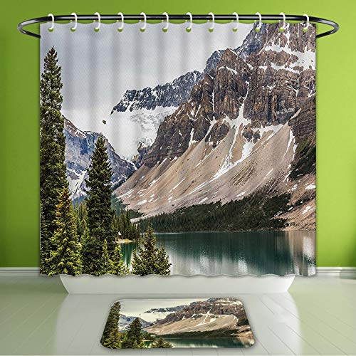 (Waterproof Shower Curtain and Bath Rug Set Americana Landscape Decor Alberta Rocks with Ranges Composed of Shale Limestone Hill Places Gre Bath Curtain and Doormat Suit for Bathroom 60