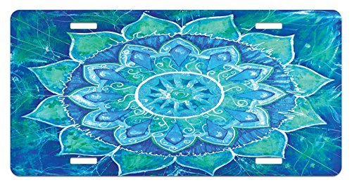 zaeshe3536658 Mandala License Plate, Hand Drawn Style Ancient Symbowith Grungy Modern Art Design, High Gloss Aluminum Novelty Plate, 6 X 12 Inches, Blue Pale Blue and Sea (Grungy Tags)