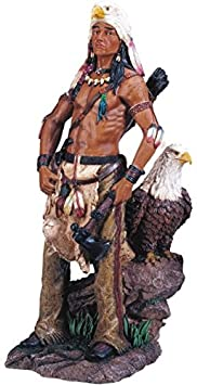 StealStreet Native American Warrior with Eagle Collectible Indian Figurine Sculpture