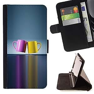 For Apple iPhone SE / iPhone 5 / iPhone 5S Case , Chashka cvet posuda párr- la tarjeta de Crédito Slots PU Funda de cuero Monedero caso cubierta de piel