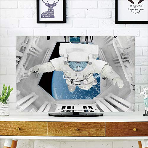 LCD TV dust Cover Strong Durability,Outer Space Decor,Astronaut Inside Spaceship Cosmic Journey Celestial World Universe Theme,White Blue,Picture Print Design Compatible 32