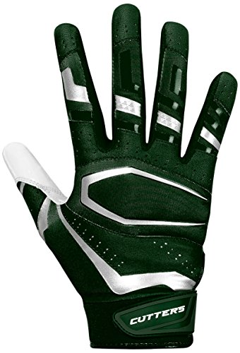 (Cutters Receiver Football Gloves - Rev Pro Football Gloves - Made with Grip Boost and Stitching - Youth & Adult Sizes - Dark Green/White - Variety of Vibrant Colors 1 Pair)