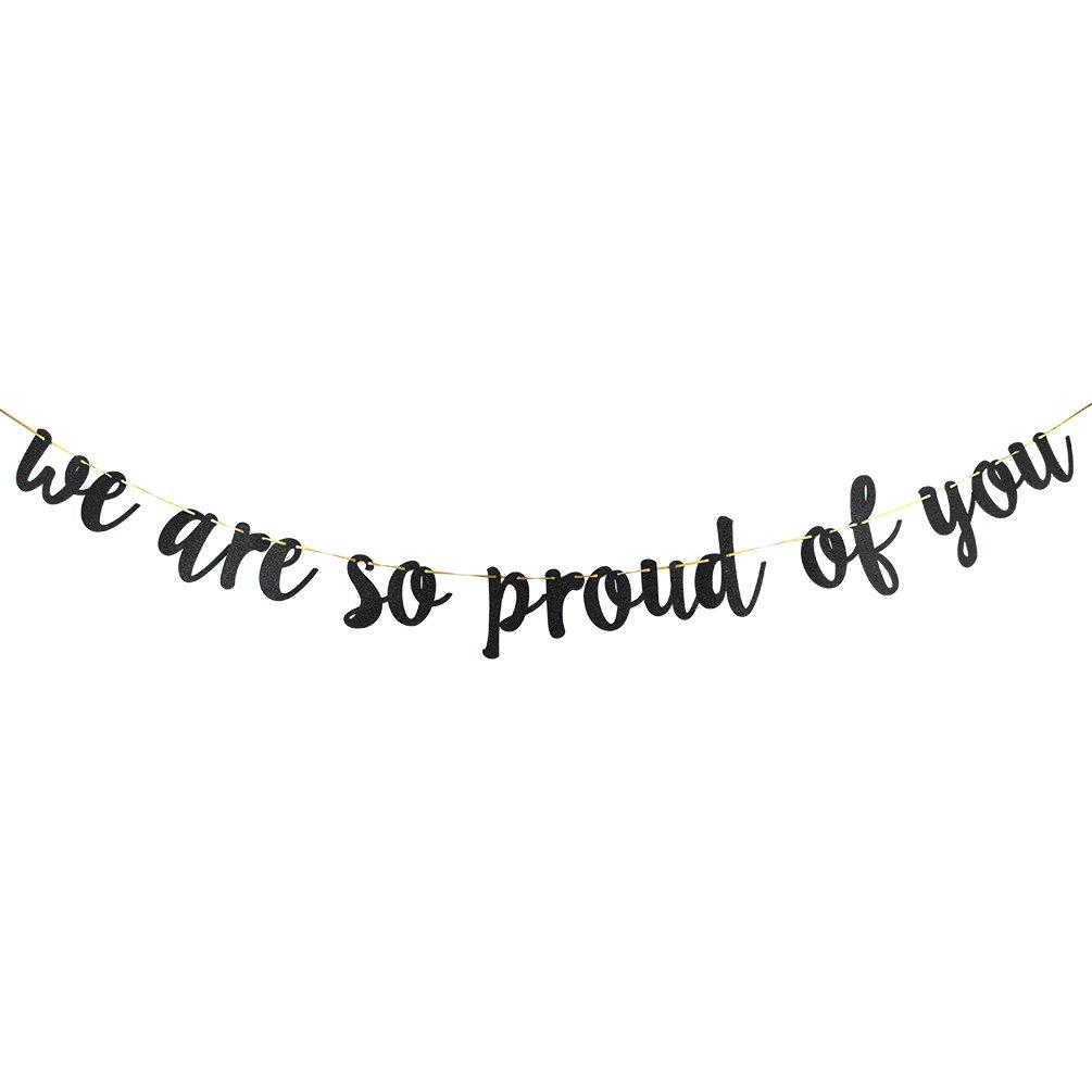 Innoru We Are So Proud of Youバナー – Black Glitter Congrats Graduateバナー – 2018 2019 GradパーティーDecorations Supplies   B07DXMBVTF