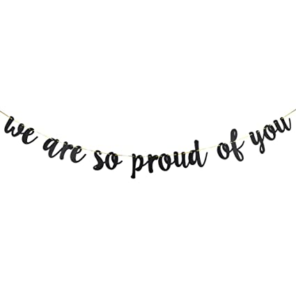 Amazoncom Innoru We Are So Proud Of You Banner Black Glitter