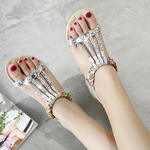 KUKI Sandalen Bohemian Perlen Strass große Größe flache Schuhe weiblich , 2 , US8.5/ EU40 / UK6.5/ CN40