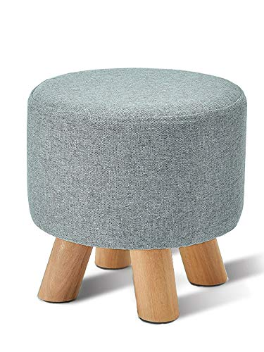 Wood Support Upholstered Footstool Pouffe Chair Stool Fabric Cover 4 Legs and Removable Linen Cover by SYAODU mini stool
