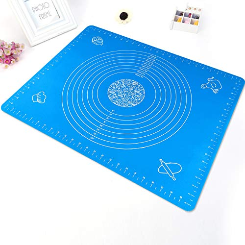 Large Silicone Baking Mat for Pastry Rolling with Measurements Pastry Rolling Mat, Food Grade Reusable Nonstick Silicone Baking pad (blue) for Housewife Cooking Enthusiasts by GXONE