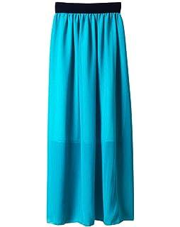 YouPue Damen Retro Chiffon Rock Lang Boho Stil Röcke Plissee Maxi Rock  Party Kleid Einheitsgröße ac75d31ce4