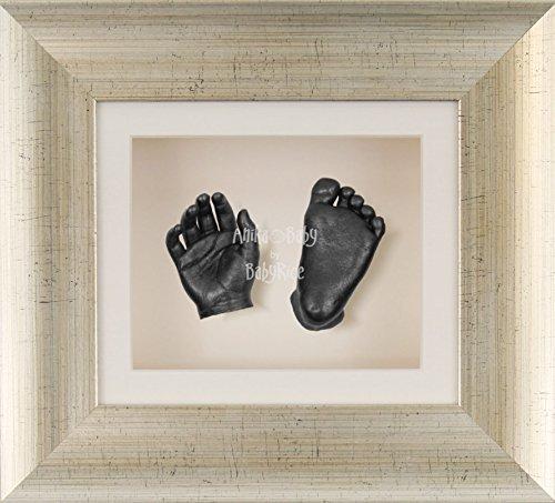 BabyRice 3D Baby Boy Casting Kit Antique Silver Frame Pewter Foot Casts